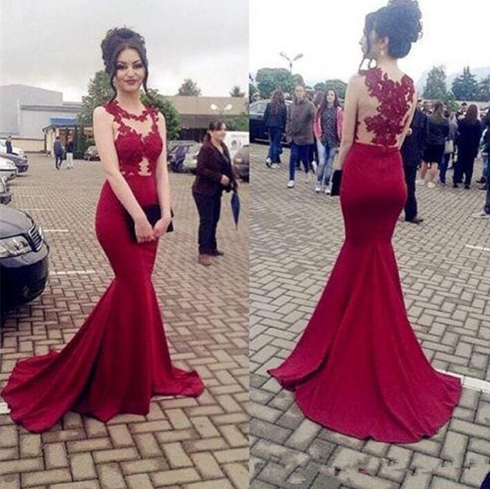 òFree ShipBridesmaid-Dresses Honor Wedding-Party Lace Sleeveless Red Sheer of Appliques Madrinha