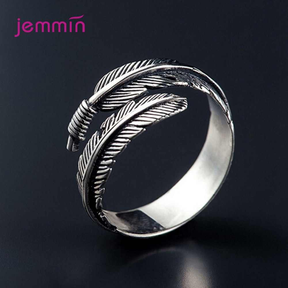 Unisex Leaf Open Rings For Women 925 Sterling Silver Rings Vintage Feather Wrap Design Adjustable Finger Rings Fashion Jewelry