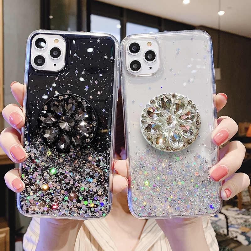 الفاخرة بريق الماس حامل حامل الهاتف حالة لسامسونج A7 2018 A10 A20 A30 A40 A50 A70 A80 A90 A10S S10 S20P واضح TPU غطاء