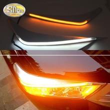 For Toyota Highlander 2012 2013 2014 LED Headlight Brow Eyebrow Daytime Running Light DRL With Yellow Turn signal Light
