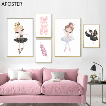 Nordic Ballet Princess Baby Nursery Poster Unicorn Wall Art Canvas Painting Swan Wall Pictures For Children Kid Girl Room Decor black white baby animal rabbit tail canvas art print and poster nursery bunny canvas painting for kids room nordic wall decor