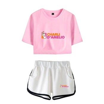 New Charli DAmelio Ice Coffee Splatter Women Two Piece Set Shorts+lovely T-shirt Sexy charli damelio merch Sport suit Girl 12