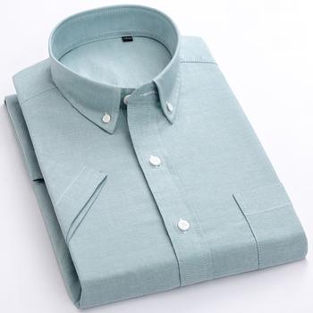 Makrosea męska na co dzień koszulka solid męska lato styl społecznej wysokiej jakości 100 bawełniane koszule z krótkim rękawem męskie koszule męskie topy tanie i dobre opinie MACROSEA Casual Shirts COTTON Pojedyncze piersi BLNF Oxford Skręcić w dół kołnierz REGULAR