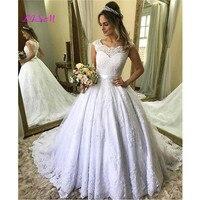 Lace Applique Bow Wedding Dress Button Cover Back Capped Sleeve Bridal Party Gowns O Neck Wedding Gowns Vestido De Novia