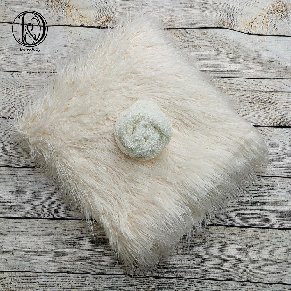 Don&Judy 2pcs/Set 150X100cm Faux Fur + Stretch Wrap Photography Photo Prop Newborn Blanket Background Backdrop Baby Photo Prop