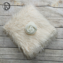 Don&Judy 2pcs/Set 150X100cm Faux Fur + Stretch Wrap Photography Photo Prop Newborn Blanket Background Backdrop Baby Photo Prop