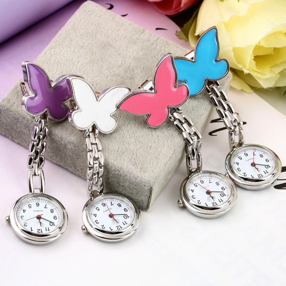 Pocket Medical Nurse Fob Watch Women Dress Watches Clip-on Pendant Hanging Quartz Clock Butterfly Shape Pocket Watch