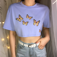 Vogue Sexy Cotton T Shirt Girl Spandex Butterfly Print Short Sleeves Crop Top Light Blue Short Tees Loose Summer tshirt O Neck grey strip crop top with short sleeves