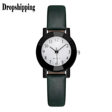 Black Women Leather College Style Quartz Analog Watch Fine Strap Band New Fashion wrist watch for girls watch bracelet tool #ZH(China)