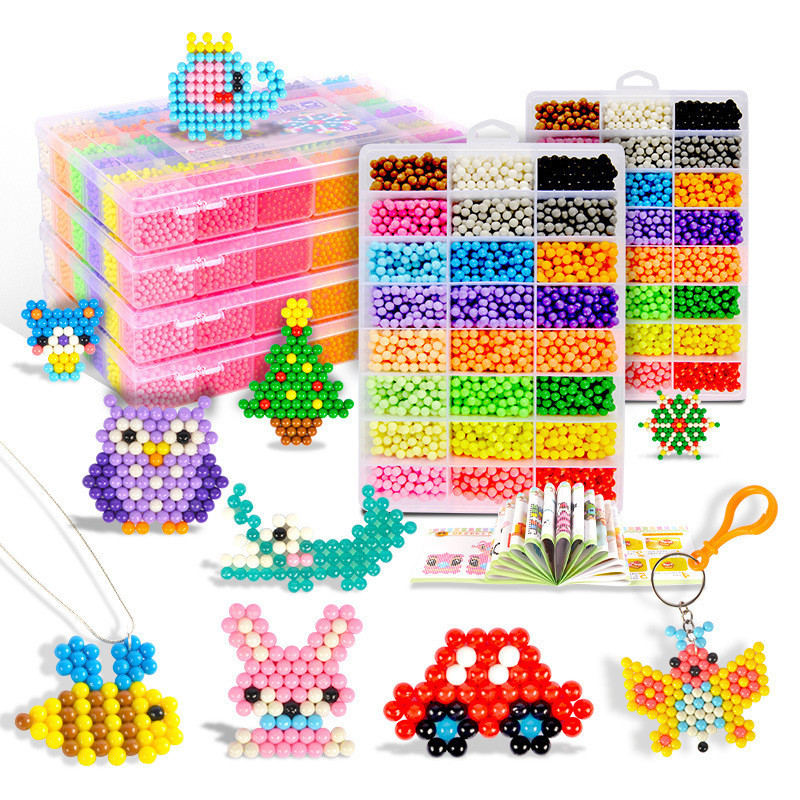 6 Colors 600PCS Water Beads Spray Animal Magic Beads Kit Balls Beads Puzzle Game Fun DIY 3D Puzzle Educational Toys For Children