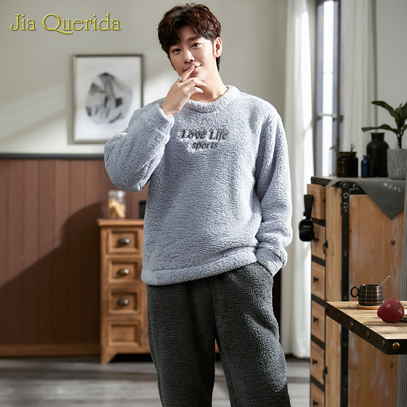 Sleepwear Men 2020 New Fashion Pijama Hombre High Quality Particle Fleece Soft Homewear Sproty Pajamas Super Warm Home Suit Male