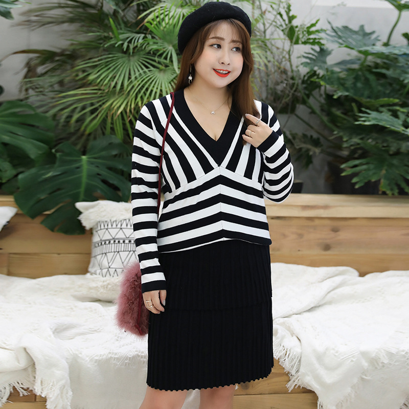 2019 Autumn Clothing Large GIRL'S Large Size Dress Plus-sized Stripes Knit Low Waist Jersey Supply Of Goods 7153
