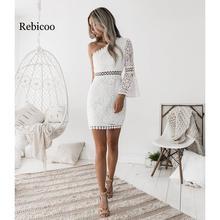 2019 new sexy openwork elegant white lace one-shoulder trumpet sleeve dress short club