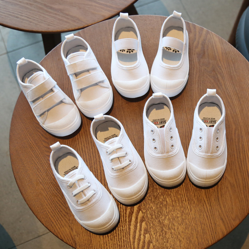 Unisex Children Canvas Shoes Girls White Shoes Boys Indoor Shoes Soft Bottom Kindergarten Toddler Sneakers Anti-Slippery