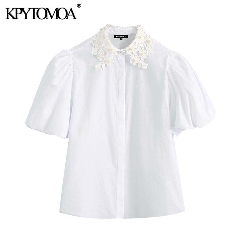 KPYTOMOA Women 2020 Sweet Fashion Faux Pearl Beading White Blouses Vintage Lapel Collar Puff Sleeve Female Shirts Chic Tops