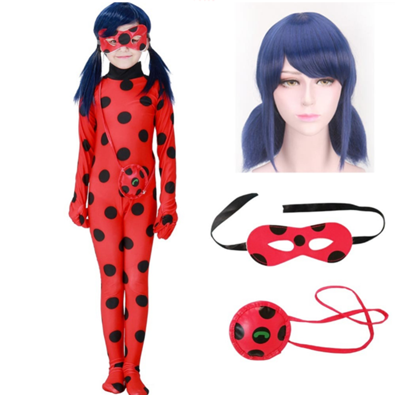 Fantasy Children Adult Lady Bug Costumes Girls Women Child LYCRA Ladybug Costume Jumpsuit Halloween Costumes Cosplay Marinette Wig