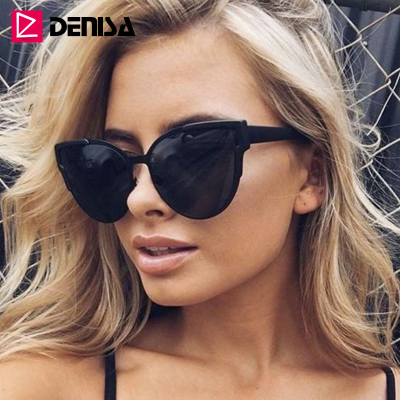 DENISA Vintage Cateye Sunglasses Women Luxury Brand Blue Mirror Sun Glasses Retro Black Shades For Women UV Protection G9018|Women's Sunglasses| - AliExpress