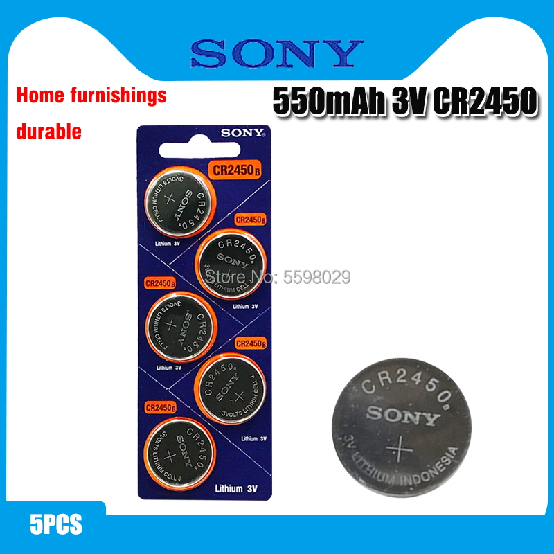5pcs Original Sony CR2450 Button <font><b>Battery</b></font> 5029LC BR2450 BR2450-1W <font><b>CR2450N</b></font> ECR2450 DL2450 KCR2450 LM2450 For Watch Toy Remote image