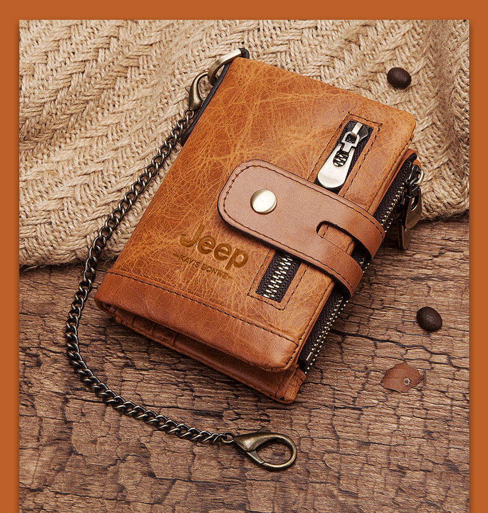 Free Engraving 100% Genuine Leather Men Wallet Coin Purse Small Mini Card Holder Chain PORTFOLIO Portomonee Male Walet Pocket