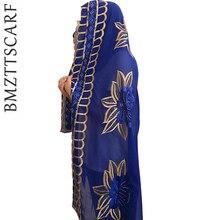Новые африканские шарфы, мусульманский женский большой шифоновый шарф с вышивкой, шарфы, платок, красивый дизайнерский шарф BM441