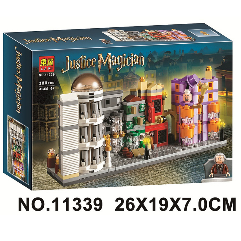 380Pcs Compatible With Lepining 40289 11339  Movie Serices Diagon Alley Model Building Blocks Bricks Kids Toys Christmas Gift