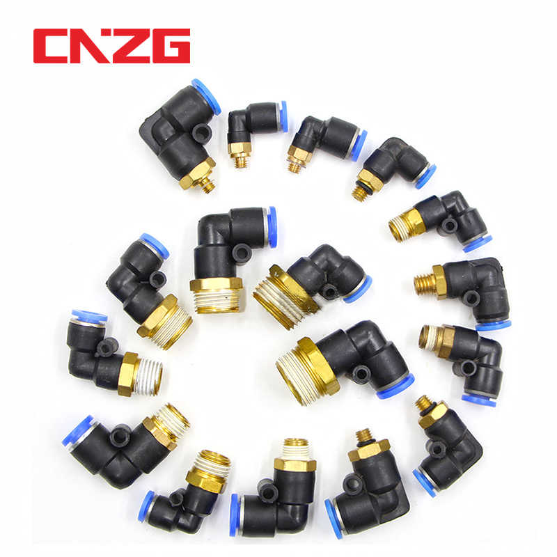 Fevas 2 Pcs 3//8 Male Thread to 6mm Elbow Pneumatic Connector Fittings
