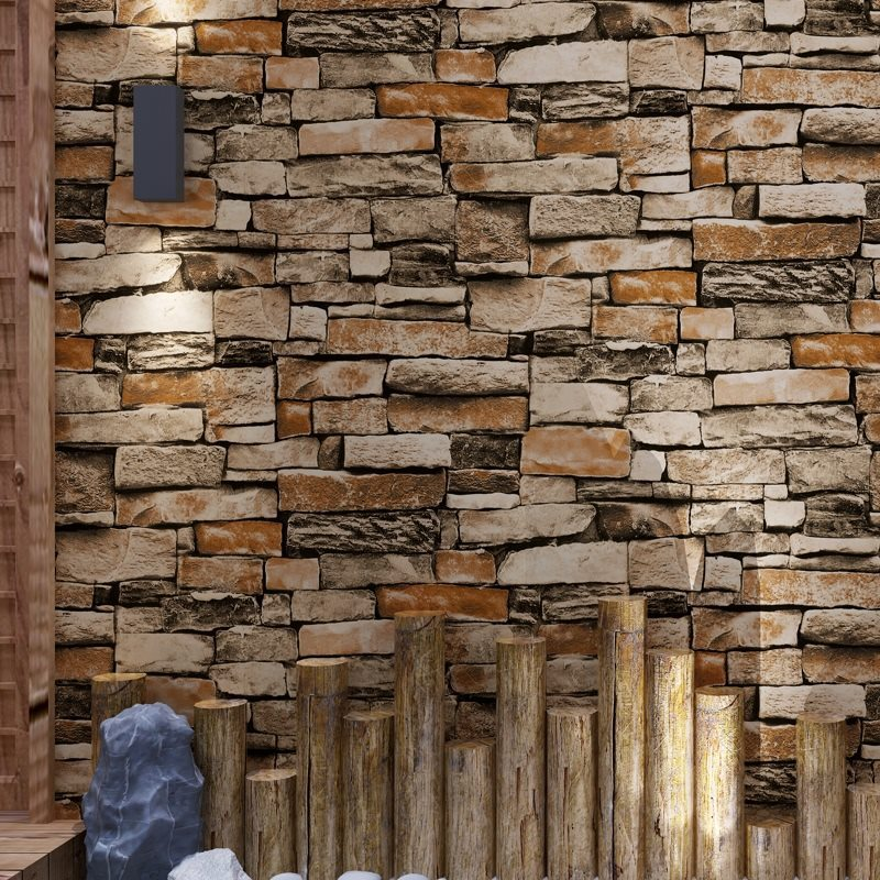 Retro Nostalgic 3D Brick Stone Wallpaper Rock Vintage Art Stone Brick Pattern Cobble PVC Wallpaper