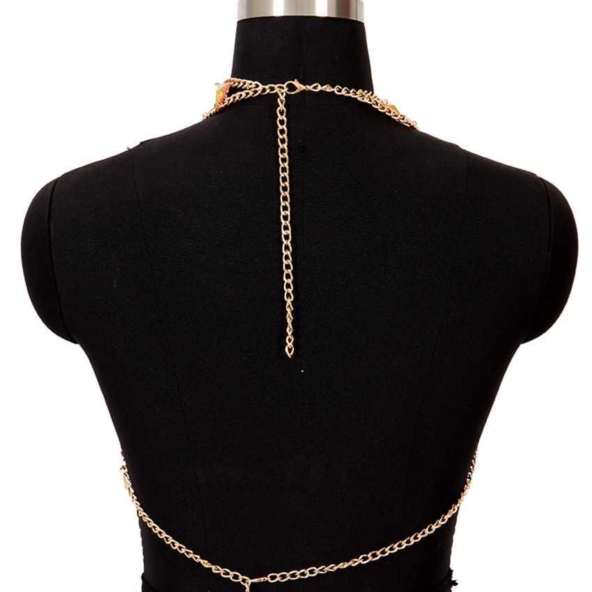 Akrylowe Halter otwórz wróć łańcuch nadwozia/belly Chain naszyjnik niewolnik uprząż czechy biustonosz dla kobiet Bikini Beach Club Punk Gothic Rave Wear