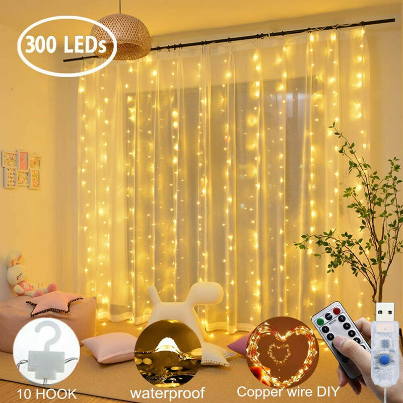 New 3*3m 300 LED Copper Wire Lamp Curtain Fairy Lights USB String Lights Wedding Party Christmas NE