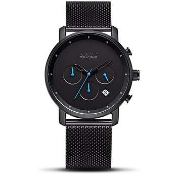 new top Men Fashion Quartz Male Watches black Steel Mesh Watches Racing Men Students Game Run Chronograph Watch Male Glow Hands