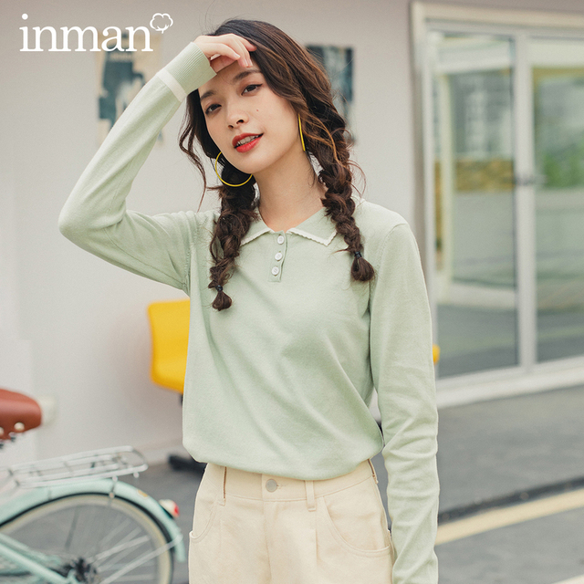 INMAN 2020 Spring New Arrival Literary Pure and Fresh Retro Grilish Preppy Style Contrast Color Loose Pollover Sweater