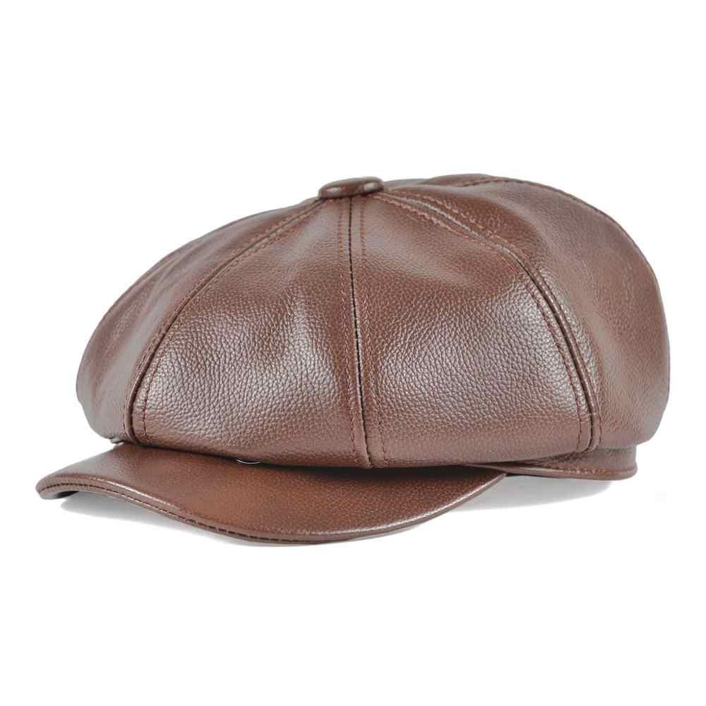 LEATHER NEWSBOY CAP 8 PANEL FLAT CAP GATSBY BAKER BOY CABBIE HAT UK SELLER