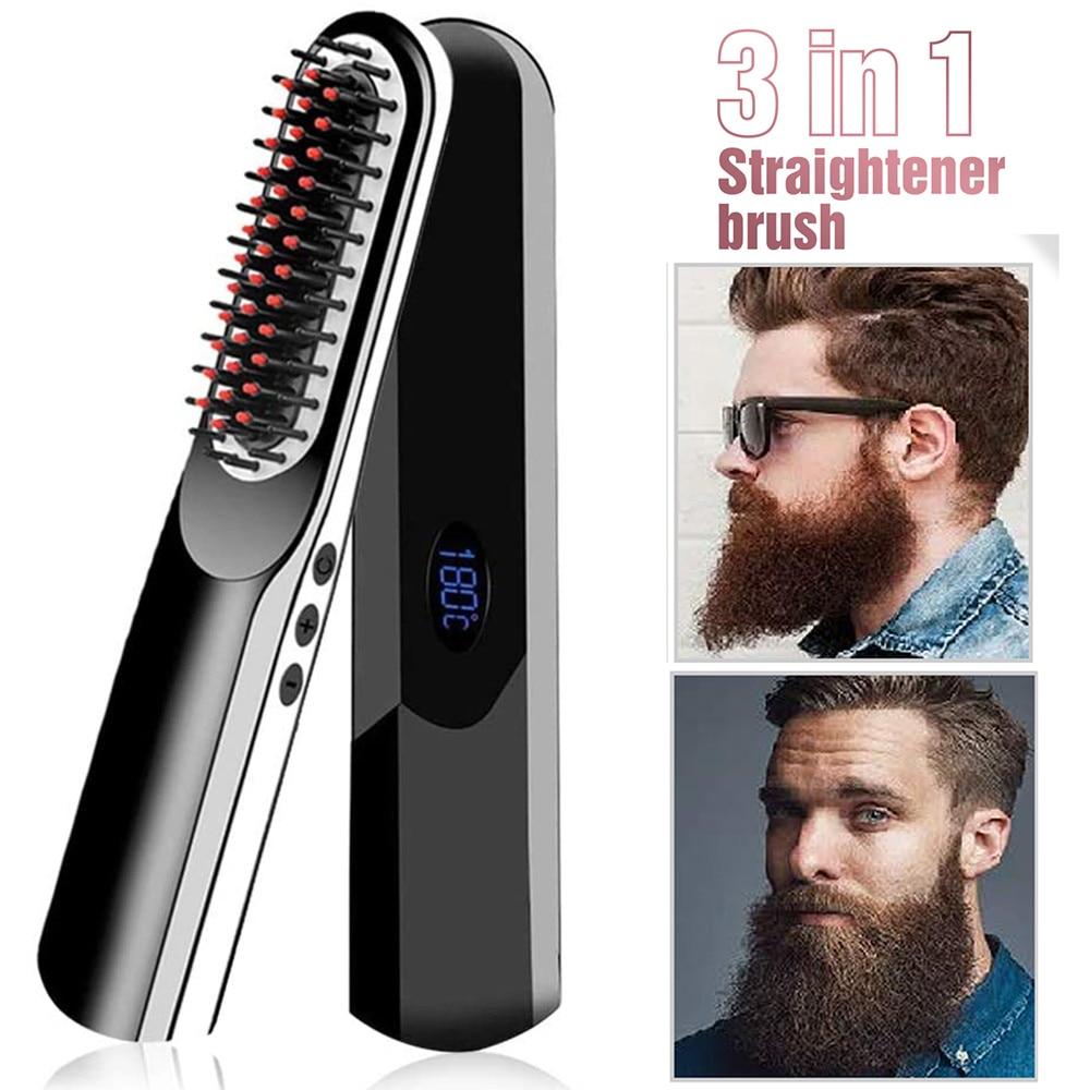 Беспроводной мужской выпрямитель для бороды, расческа для волос с ЖК-дисплеем, многофункциональная беспроводная щетка для выпрямления вол...
