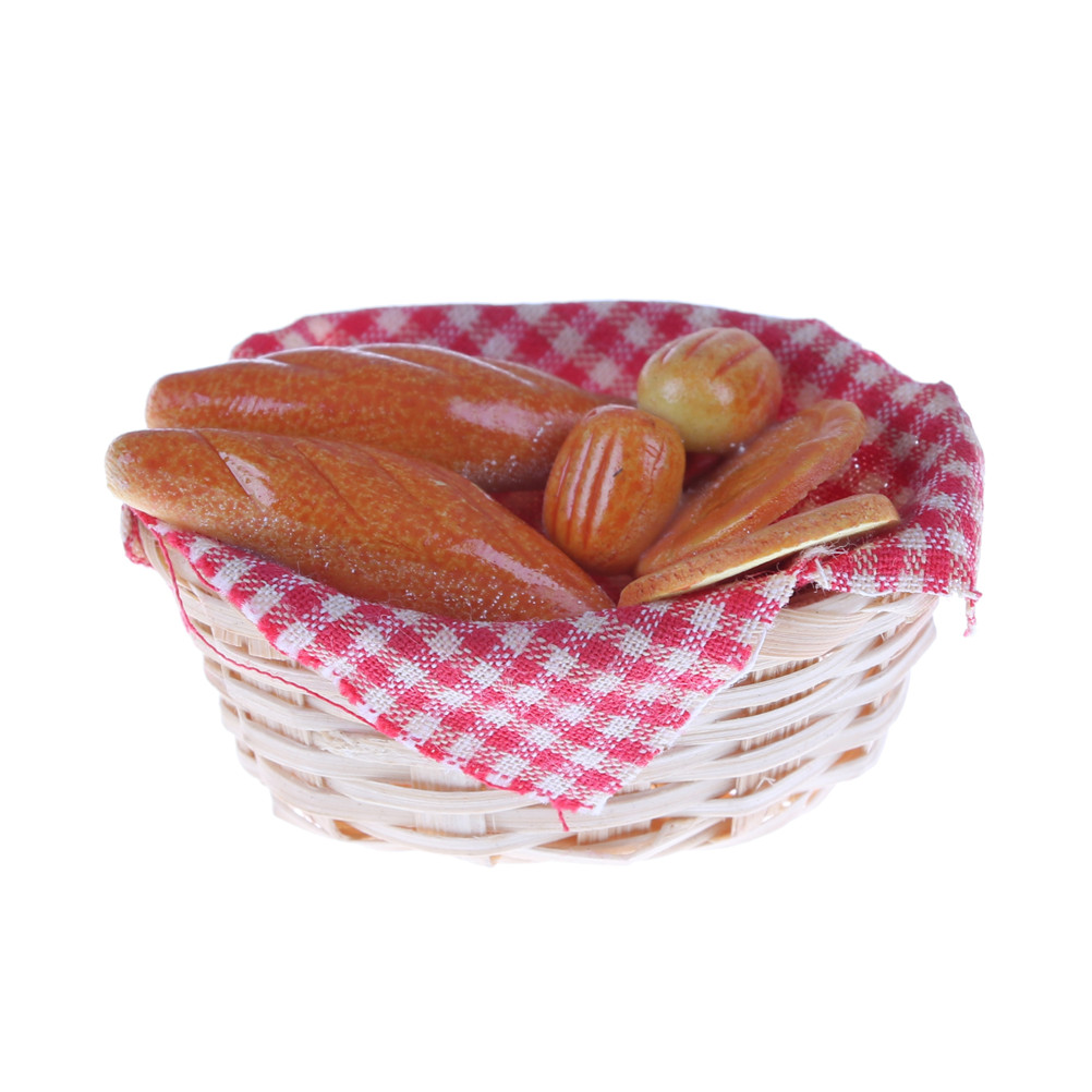 1/12 Dollhouse Miniature Accessories Mini Bread Basket Simulation Kitchen Food Model Toys For Doll House Decoration