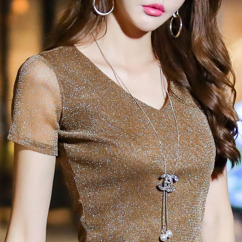 Women Spring Summer Style V-Neck Lace Blouses Shirts Lady Casual Short Sleeve V-Neck Lace Blusas Tops DD8039
