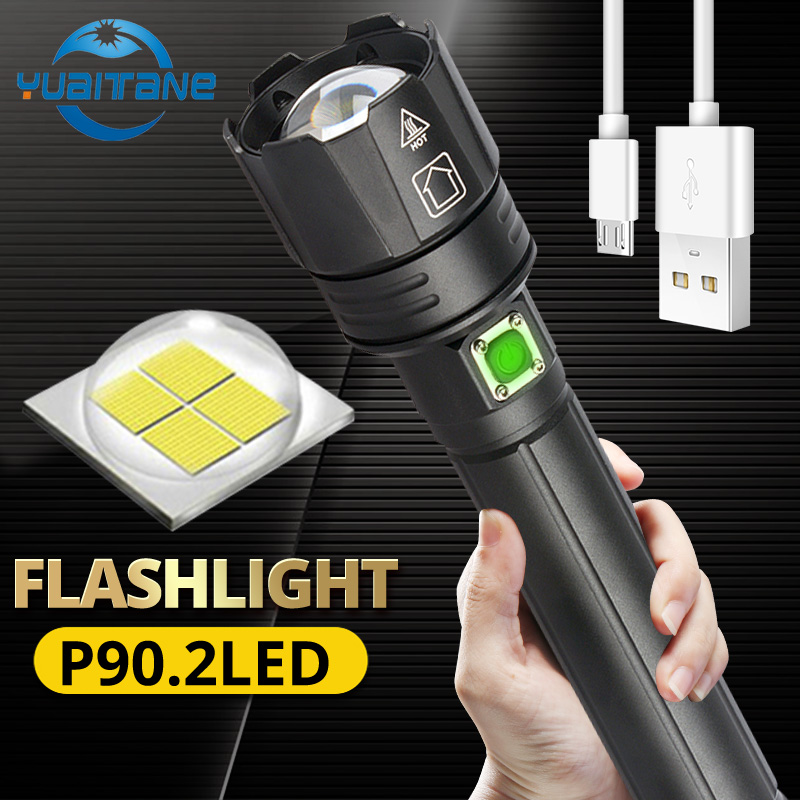 2020 Seller Recommend 300000lm XHP90.2 Powerful LED Flashlight Zoom Torch USB Rechargeable Use 18650/26650 Battery For Outdoor