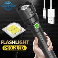 2020 Verkäufer empfehlen 300000lm XHP 90,2 Leistungsstarke LED Taschenlampe zoom taschenlampe USB Aufladbare verwenden 18650/26650 batterie für outdoor