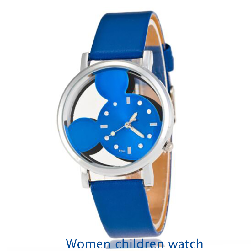2020 Children Girl Watch Personalized Stylish Double-sided Hollow Out Blue Pin Children Watch Kids Girls Watches Kids Leather