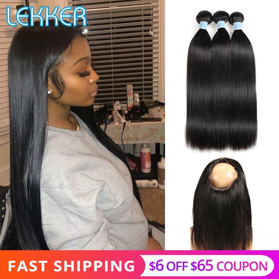 Lekker Straight Hair Bundles With Frontal Brazilian Hair Bundles With Frontal 360 Lace Frontal Human Hair Bundles With Clousre