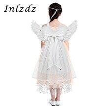 키즈 Girsl 코스프레 의상 깃털 천사 날개 댄스 파티에 대한 세 계층 얇은 명주 그물 가장 무도회 카니발 휴일 각도 드레스