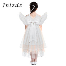 Kids Girsl Cosplay Costume Feather Angel Wings with Three Layered Tulle for Dance Party Masquerade Carnival Holiday Angle Dress