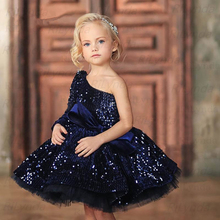 Princess Dress Puffy Christmas-Party Navy-Blue One-Shoulder Ball-Gown Glitter Sequin