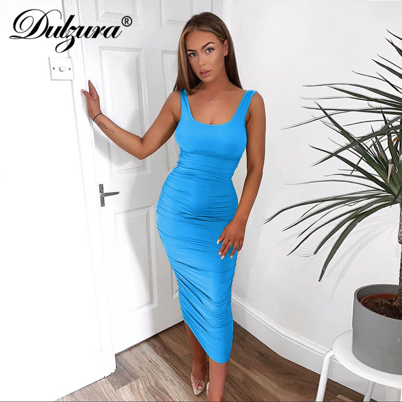 Dulzura ruched women midi shirt dress bodycon sexy sleeveless elegant party backless streetwear 2020 spring summer clothes club 2