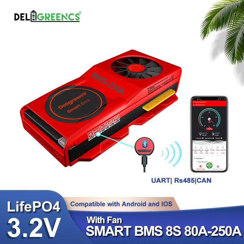 Inteligentny BMS 8S LiFePO4 Bluetooth z wentylatorem UART kabel Rs485 komunikacja NTC temperatura 150A 200A 250A APP PC oprogramowanie
