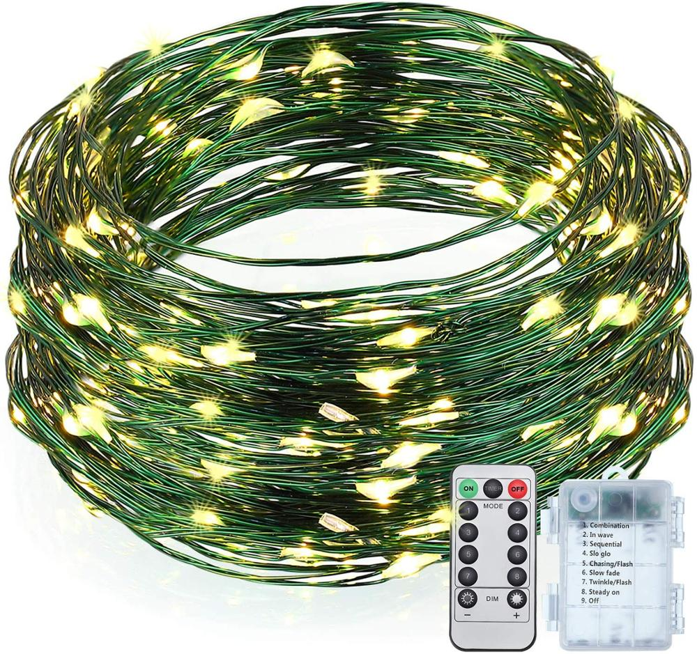 GREEN WIRE String Lights, Outdoor String Lights, 33ft/ 10 M 100 LED Waterproof Starry Fairy Lights With 8 Modes Remote Control