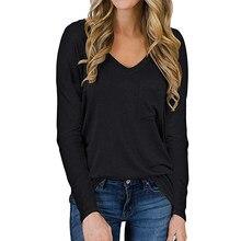 GULE GULE – pull basique à manches longues pour femme, t-shirt en tricot avec poche, col en V, résistant, hiver
