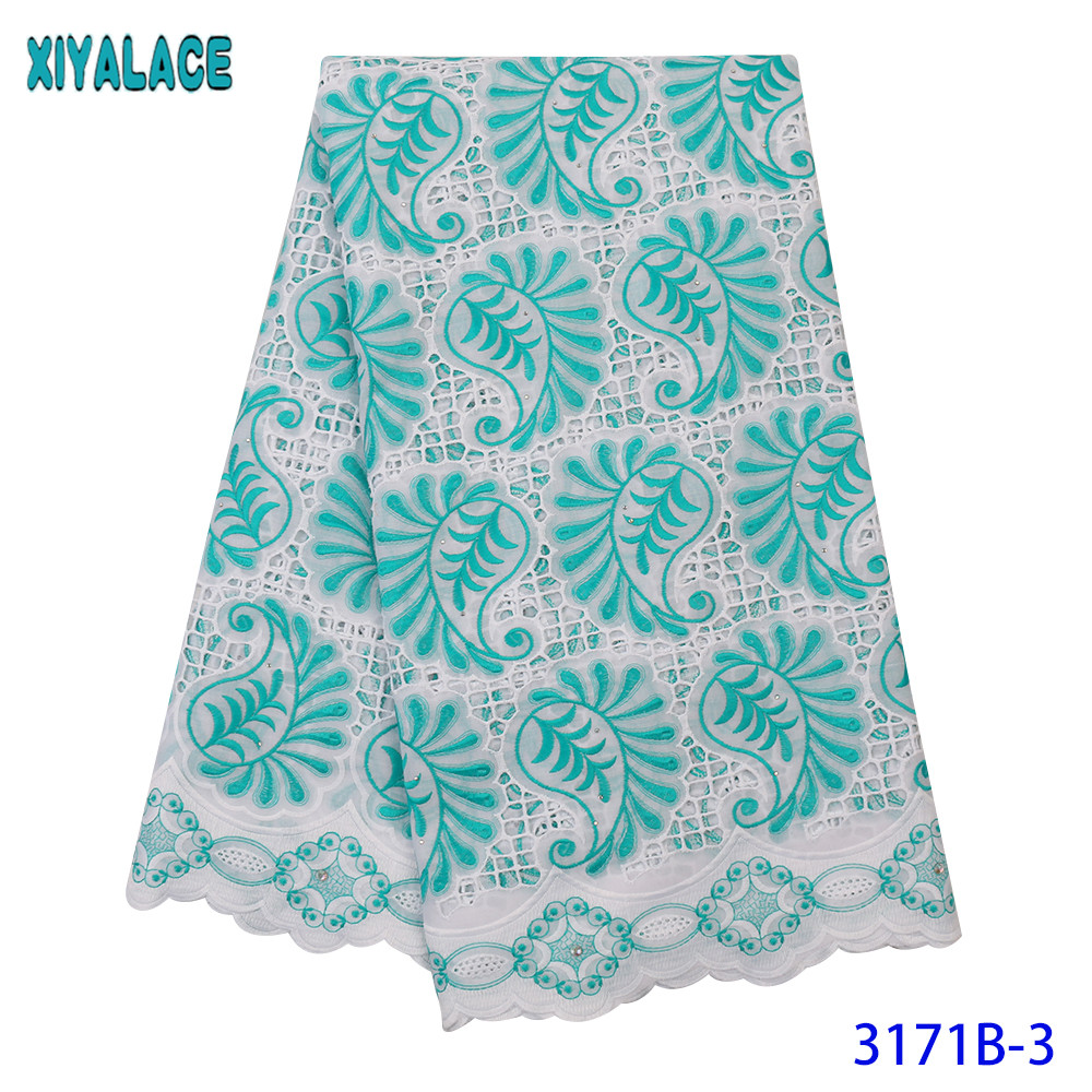 5 Yard Swiss Lace Fabric 2019 Latestet Embroidery Laces African Dry Cotton Fabrics Popular Dubai Style For Dresses KS3171B