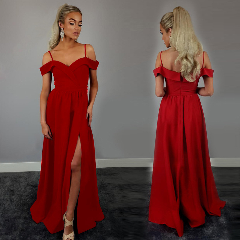 2018 Europe And America Foreign Trade New Style Formal Dress EBay Amazon Hot Selling Sexy Solid Color Camisole Formal Dress Long