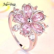 Anel de noivado da promessa do cristal da cor de prata para o presente da jóia da festa