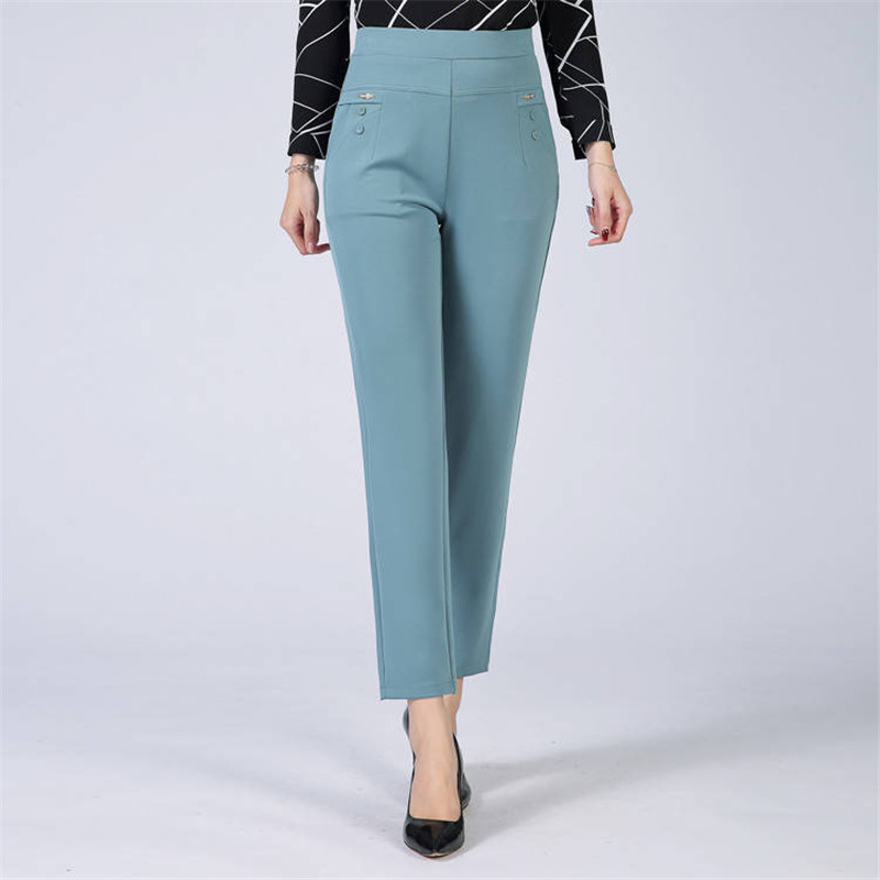Summer Mom's Plus Size 5XL Thin Pants Casual Office High Waist Pants Lady Slim Waist Stretch Straight Trousers Joggers Women